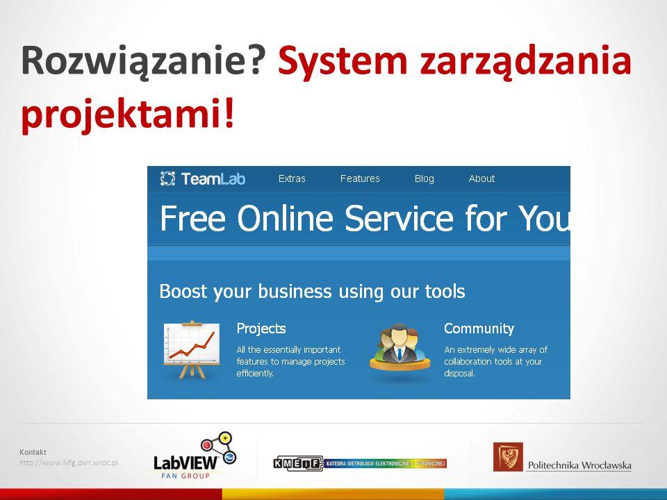 Rozwiązanie? System zarządzania projektami! Kontakt http://www.lvfg.pwr.wroc.pl