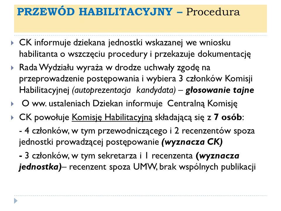 PRZEWÓD HABILITACYJNY – Procedura CK informuje dziekana jednostki wskazanej we wniosku habilitanta o wszczęciu procedury i przekazuje dokumentację Rad