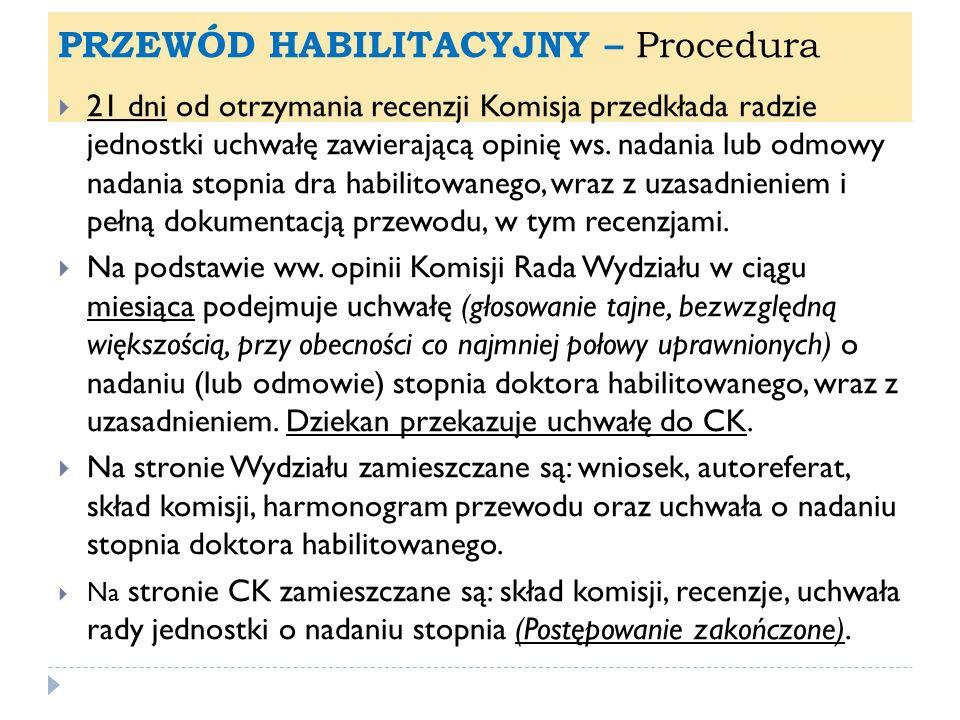 PRZEWÓD HABILITACYJNY – Procedura 21 dni od otrzymania recenzji Komisja przedkłada radzie jednostki uchwałę zawierającą opinię ws. nadania lub odmowy