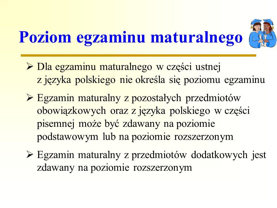 Poziom egzaminu maturalnego Dla egzaminu maturalnego w części ustnej z języka polskiego nie określa się poziomu egzaminu Egzamin maturalny z pozostałych przedmiotów obowiązkowych oraz z języka polskiego w części pisemnej może być zdawany na poziomie podstawowym lub na poziomie rozszerzonym Egzamin maturalny z przedmiotów dodatkowych jest zdawany na poziomie rozszerzonym
