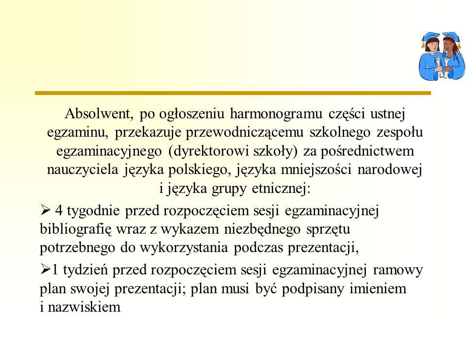 Absolwent, po ogłoszeniu harmonogramu części ustnej egzaminu, przekazuje przewodniczącemu szkolnego zespołu egzaminacyjnego (dyrektorowi szkoły) za pośrednictwem nauczyciela języka polskiego, języka mniejszości narodowej i języka grupy etnicznej: 4 tygodnie przed rozpoczęciem sesji egzaminacyjnej bibliografię wraz z wykazem niezbędnego sprzętu potrzebnego do wykorzystania podczas prezentacji, 1 tydzień przed rozpoczęciem sesji egzaminacyjnej ramowy plan swojej prezentacji; plan musi być podpisany imieniem i nazwiskiem