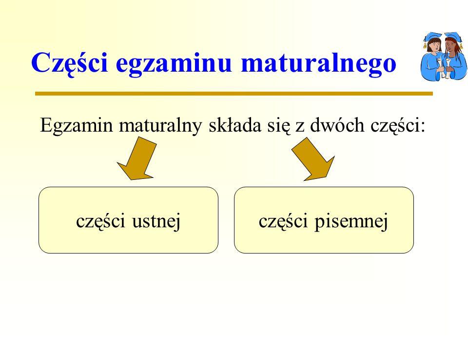 Części egzaminu maturalnego Egzamin maturalny składa się z dwóch części: części ustnejczęści pisemnej