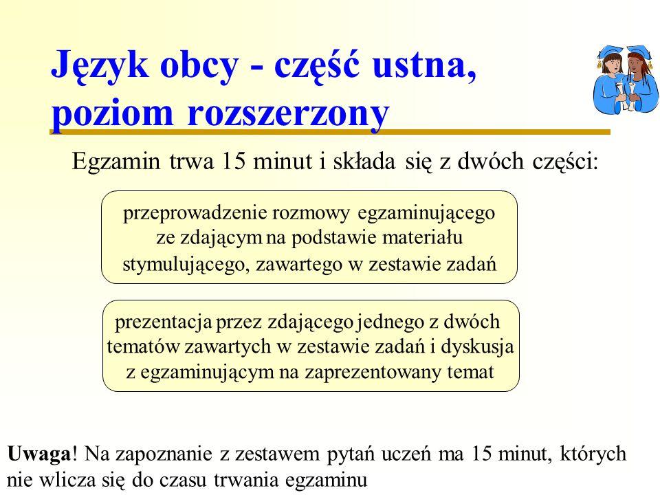Język obcy - część ustna, poziom rozszerzony Egzamin trwa 15 minut i składa się z dwóch części: przeprowadzenie rozmowy egzaminującego ze zdającym na podstawie materiału stymulującego, zawartego w zestawie zadań prezentacja przez zdającego jednego z dwóch tematów zawartych w zestawie zadań i dyskusja z egzaminującym na zaprezentowany temat Uwaga.