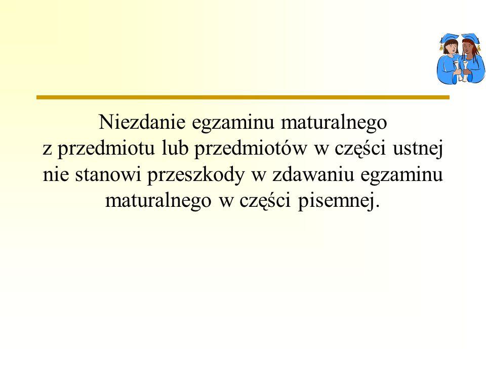 Niezdanie egzaminu maturalnego z przedmiotu lub przedmiotów w części ustnej nie stanowi przeszkody w zdawaniu egzaminu maturalnego w części pisemnej.