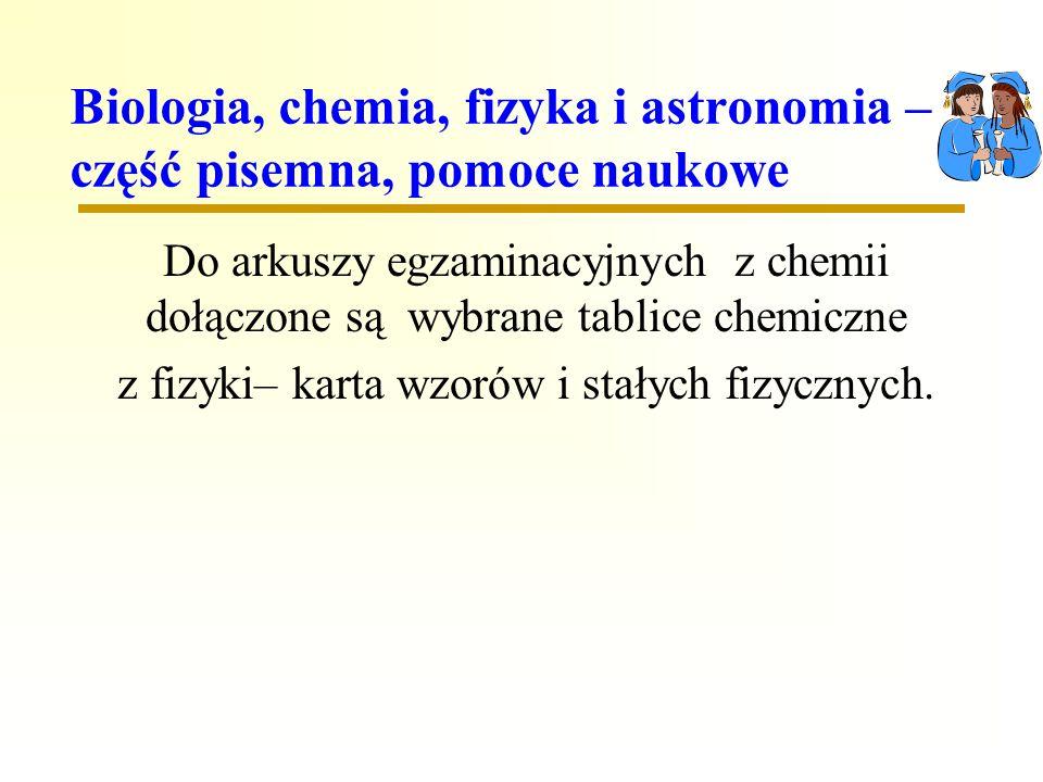 Biologia, chemia, fizyka i astronomia – część pisemna, pomoce naukowe Do arkuszy egzaminacyjnych z chemii dołączone są wybrane tablice chemiczne z fizyki– karta wzorów i stałych fizycznych.