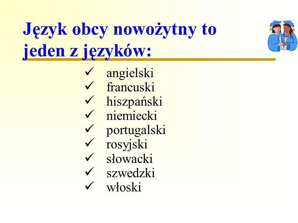 Język obcy nowożytny to jeden z języków: angielski francuski hiszpański niemiecki portugalski rosyjski słowacki szwedzki włoski