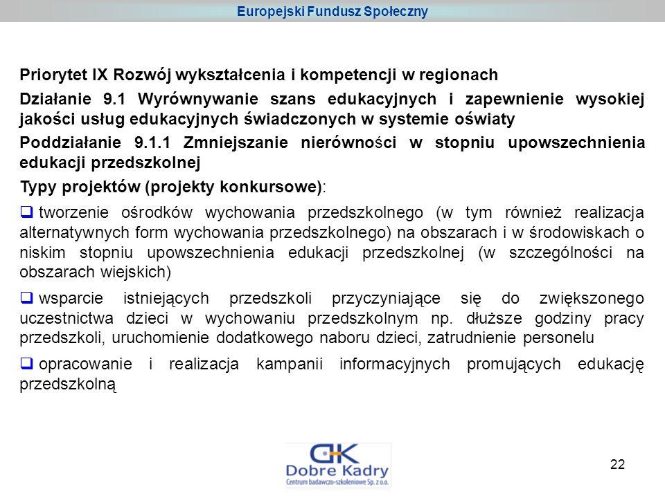22 Priorytet IX Rozwój wykształcenia i kompetencji w regionach Działanie 9.1 Wyrównywanie szans edukacyjnych i zapewnienie wysokiej jakości usług edukacyjnych świadczonych w systemie oświaty Poddziałanie 9.1.1 Zmniejszanie nierówności w stopniu upowszechnienia edukacji przedszkolnej Typy projektów (projekty konkursowe): tworzenie ośrodków wychowania przedszkolnego (w tym również realizacja alternatywnych form wychowania przedszkolnego) na obszarach i w środowiskach o niskim stopniu upowszechnienia edukacji przedszkolnej (w szczególności na obszarach wiejskich) wsparcie istniejących przedszkoli przyczyniające się do zwiększonego uczestnictwa dzieci w wychowaniu przedszkolnym np.
