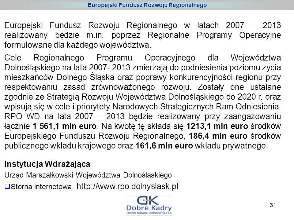 31 Europejski Fundusz Rozwoju Regionalnego w latach 2007 – 2013 realizowany będzie m.in.