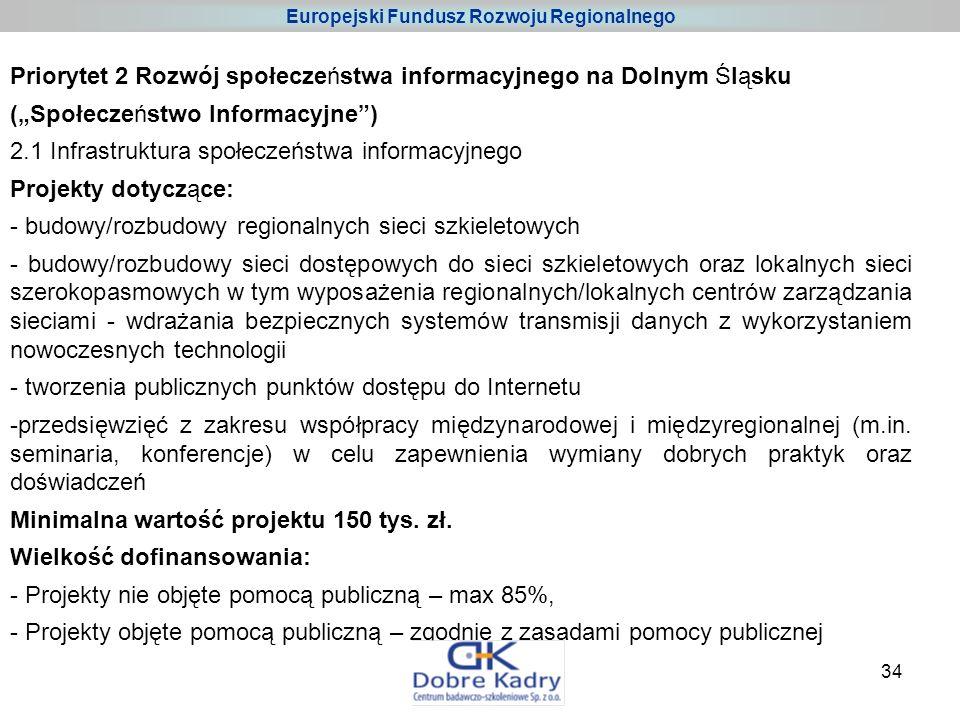 34 Priorytet 2 Rozwój społeczeństwa informacyjnego na Dolnym Śląsku (Społeczeństwo Informacyjne) 2.1 Infrastruktura społeczeństwa informacyjnego Projekty dotyczące: - budowy/rozbudowy regionalnych sieci szkieletowych - budowy/rozbudowy sieci dostępowych do sieci szkieletowych oraz lokalnych sieci szerokopasmowych w tym wyposażenia regionalnych/lokalnych centrów zarządzania sieciami - wdrażania bezpiecznych systemów transmisji danych z wykorzystaniem nowoczesnych technologii - tworzenia publicznych punktów dostępu do Internetu -przedsięwzięć z zakresu współpracy międzynarodowej i międzyregionalnej (m.in.