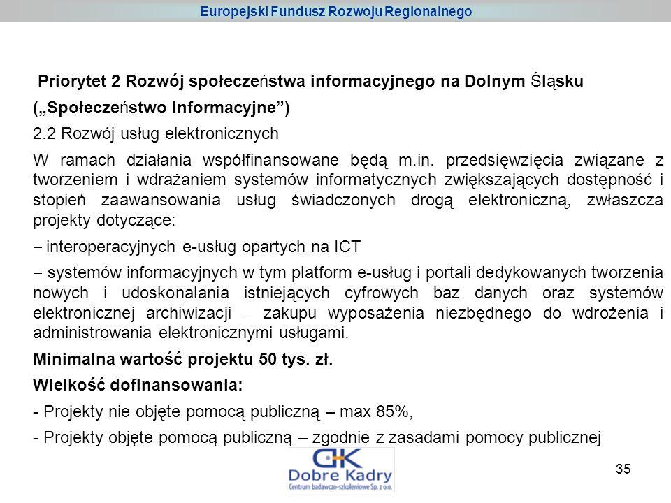 35 Priorytet 2 Rozwój społeczeństwa informacyjnego na Dolnym Śląsku (Społeczeństwo Informacyjne) 2.2 Rozwój usług elektronicznych W ramach działania współfinansowane będą m.in.