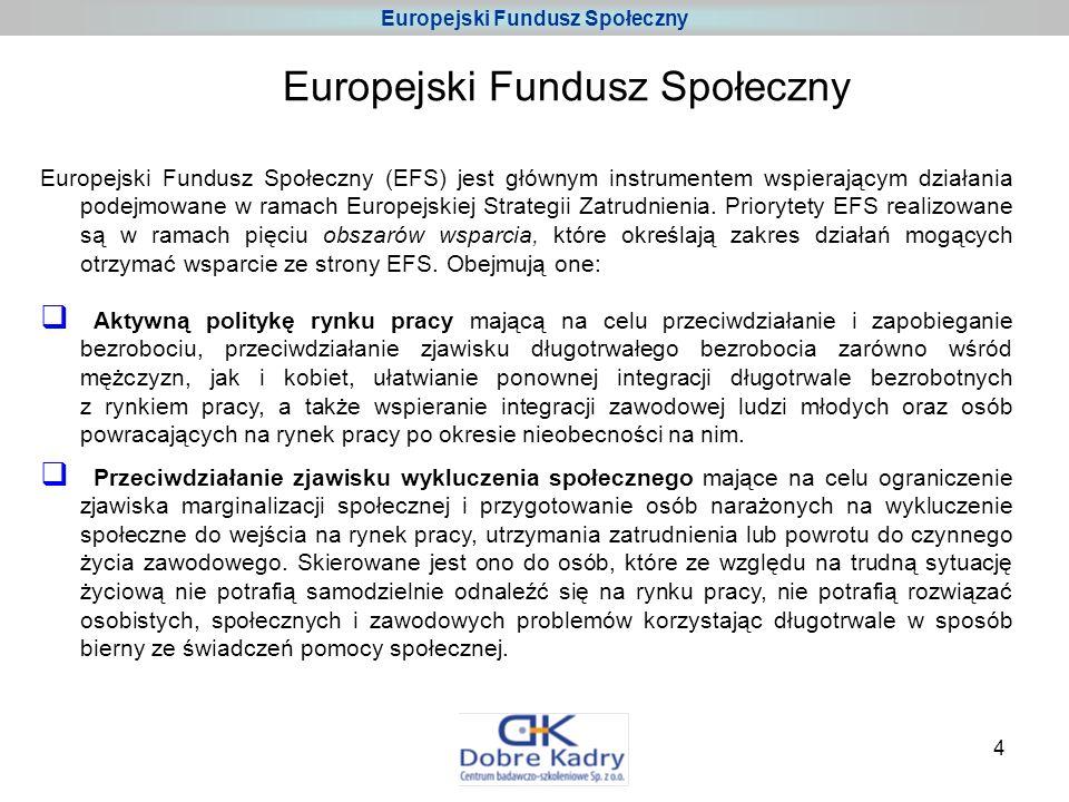 4 Europejski Fundusz Społeczny (EFS) jest głównym instrumentem wspierającym działania podejmowane w ramach Europejskiej Strategii Zatrudnienia.