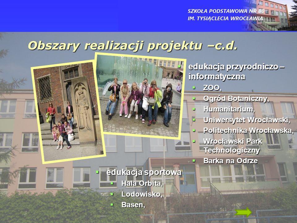 Obszary realizacji projektu –c.d.