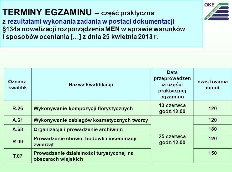 TERMINY EGZAMINU – część praktyczna z rezultatami wykonania zadania w postaci dokumentacji §134a nowelizacji rozporządzenia MEN w sprawie warunków i sposobów oceniania […] z dnia 25 kwietnia 2013 r.
