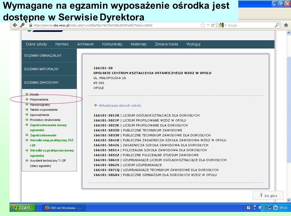 Wymagane na egzamin wyposażenie ośrodka jest dostępne w Serwisie Dyrektora