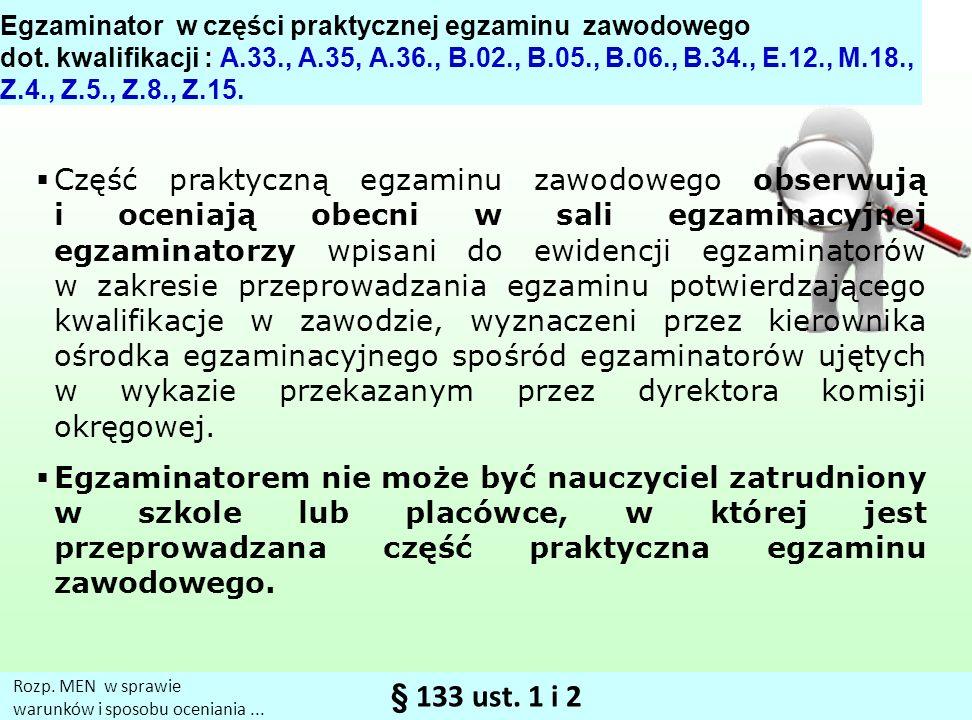 § 133 ust.1 i 2 Rozp. MEN w sprawie warunków i sposobu oceniania...