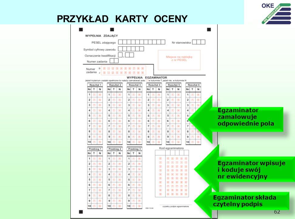 62 PRZYKŁAD KARTY OCENY Egzaminator wpisuje i koduje swój nr ewidencyjny Egzaminator składa czytelny podpis Egzaminator zamalowuje odpowiednie pola