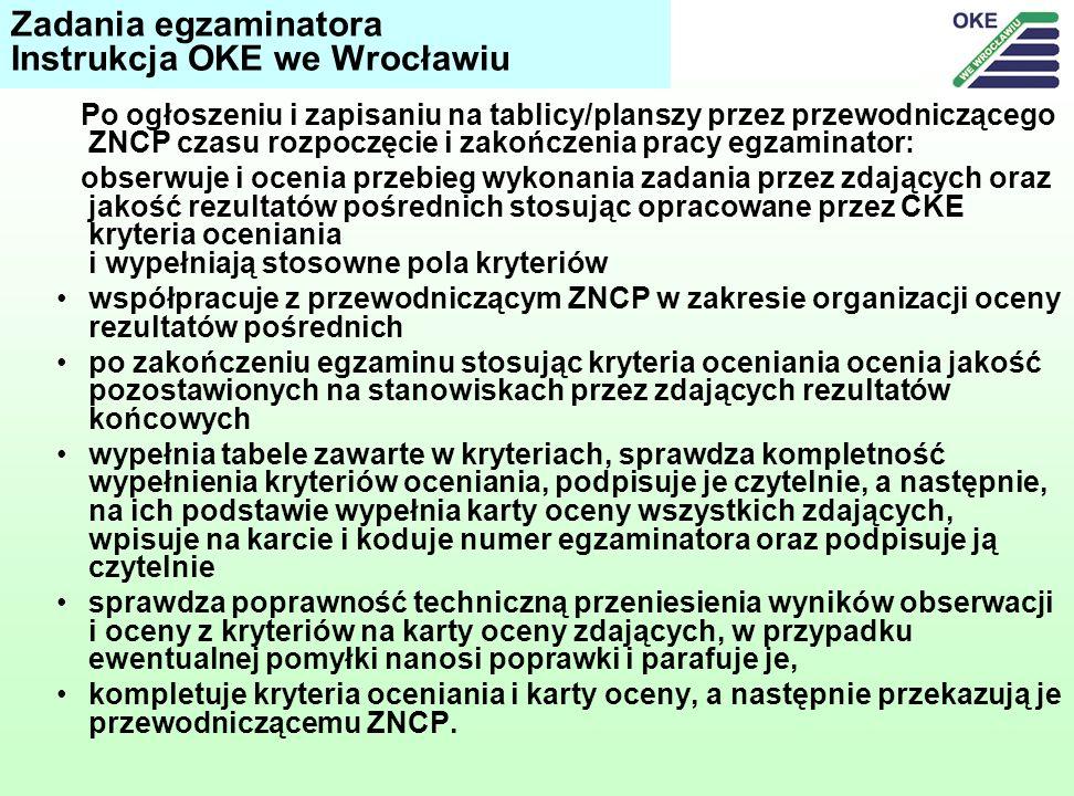 Po ogłoszeniu i zapisaniu na tablicy/planszy przez przewodniczącego ZNCP czasu rozpoczęcie i zakończenia pracy egzaminator: obserwuje i ocenia przebieg wykonania zadania przez zdających oraz jakość rezultatów pośrednich stosując opracowane przez CKE kryteria oceniania i wypełniają stosowne pola kryteriów współpracuje z przewodniczącym ZNCP w zakresie organizacji oceny rezultatów pośrednich po zakończeniu egzaminu stosując kryteria oceniania ocenia jakość pozostawionych na stanowiskach przez zdających rezultatów końcowych wypełnia tabele zawarte w kryteriach, sprawdza kompletność wypełnienia kryteriów oceniania, podpisuje je czytelnie, a następnie, na ich podstawie wypełnia karty oceny wszystkich zdających, wpisuje na karcie i koduje numer egzaminatora oraz podpisuje ją czytelnie sprawdza poprawność techniczną przeniesienia wyników obserwacji i oceny z kryteriów na karty oceny zdających, w przypadku ewentualnej pomyłki nanosi poprawki i parafuje je, kompletuje kryteria oceniania i karty oceny, a następnie przekazują je przewodniczącemu ZNCP.