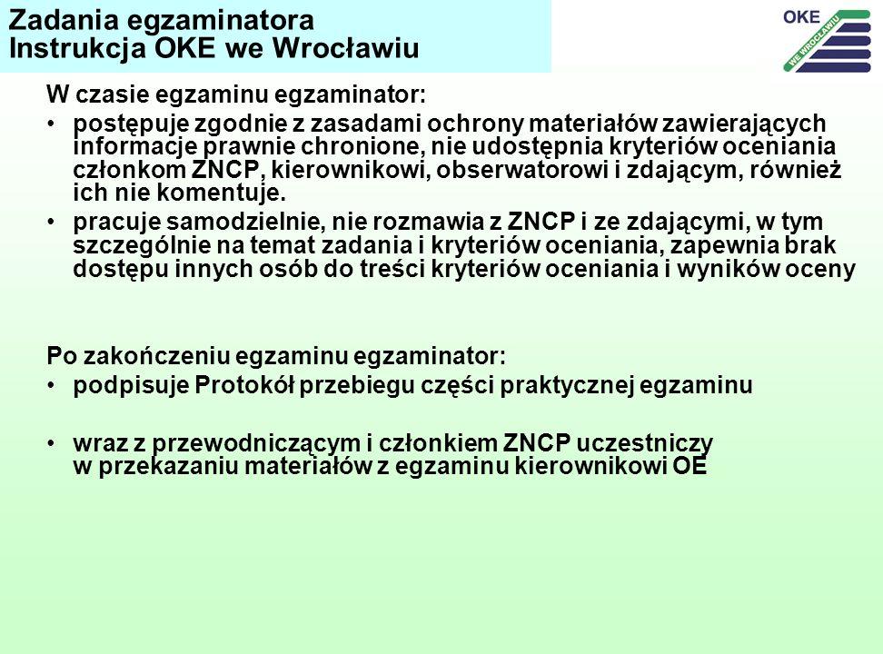 W czasie egzaminu egzaminator: postępuje zgodnie z zasadami ochrony materiałów zawierających informacje prawnie chronione, nie udostępnia kryteriów oceniania członkom ZNCP, kierownikowi, obserwatorowi i zdającym, również ich nie komentuje.