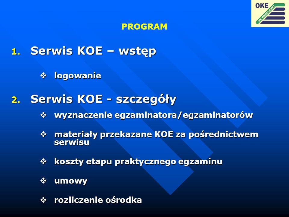 PROGRAM 1. Serwis KOE – wstęp logowanie logowanie 2. Serwis KOE - szczegóły wyznaczenie egzaminatora/egzaminatorów wyznaczenie egzaminatora/egzaminato