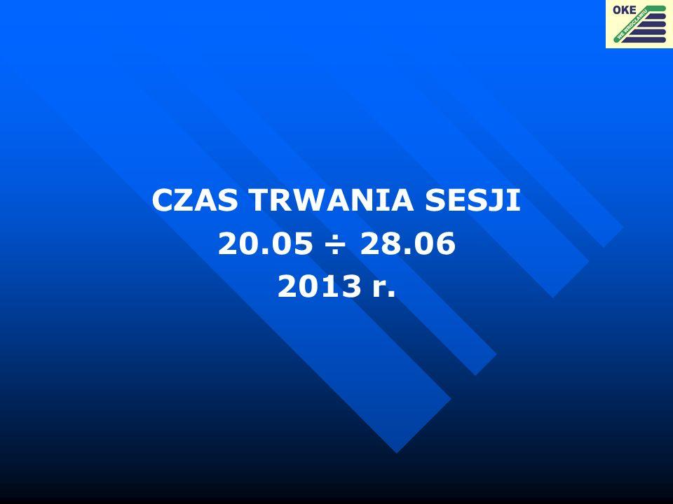 CZAS TRWANIA SESJI 20.05 ÷ 28.06 2013 r.