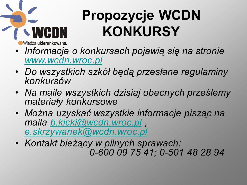 Propozycje WCDN KONKURSY Informacje o konkursach pojawią się na stronie www.wcdn.wroc.pl www.wcdn.wroc.pl Do wszystkich szkół będą przesłane regulaminy konkursów Na maile wszystkich dzisiaj obecnych prześlemy materiały konkursowe Można uzyskać wszystkie informacje pisząc na maila b.kicki@wcdn.wroc.pl, e.skrzywanek@wcdn.wroc.plb.kicki@wcdn.wroc.pl e.skrzywanek@wcdn.wroc.pl Kontakt bieżący w pilnych sprawach: 0-600 09 75 41; 0-501 48 28 94