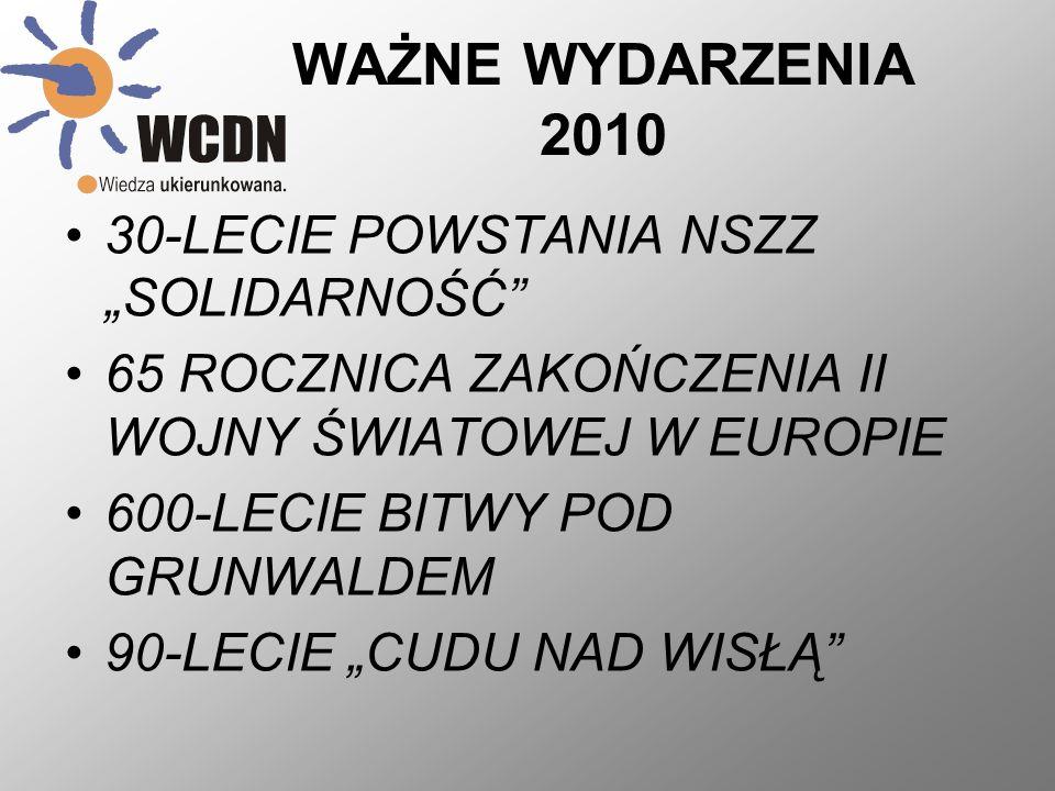 WAŻNE WYDARZENIA 2010 30-LECIE POWSTANIA NSZZ SOLIDARNOŚĆ 65 ROCZNICA ZAKOŃCZENIA II WOJNY ŚWIATOWEJ W EUROPIE 600-LECIE BITWY POD GRUNWALDEM 90-LECIE
