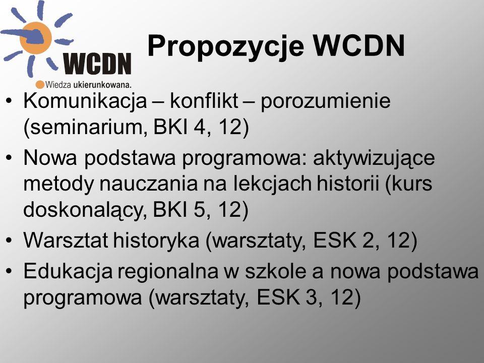 Propozycje WCDN Komunikacja – konflikt – porozumienie (seminarium, BKI 4, 12) Nowa podstawa programowa: aktywizujące metody nauczania na lekcjach historii (kurs doskonalący, BKI 5, 12) Warsztat historyka (warsztaty, ESK 2, 12) Edukacja regionalna w szkole a nowa podstawa programowa (warsztaty, ESK 3, 12)