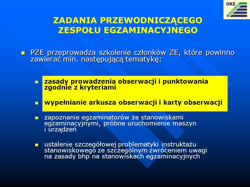 ZADANIA PRZEWODNICZĄCEGO ZESPOŁU EGZAMINACYJNEGO zasady prowadzenia obserwacji i punktowania zgodnie z kryteriami wypełnianie arkusza obserwacji i kar