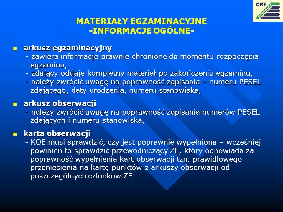 MATERIAŁY EGZAMINACYJNE -INFORMACJE OGÓLNE- arkusz egzaminacyjny arkusz egzaminacyjny - zawiera informacje prawnie chronione do momentu rozpoczęcia -