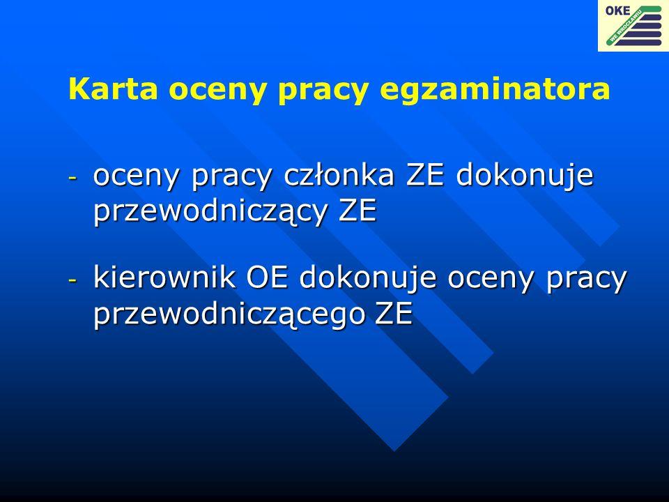 Karta oceny pracy egzaminatora - oceny pracy członka ZE dokonuje przewodniczący ZE - kierownik OE dokonuje oceny pracy przewodniczącego ZE
