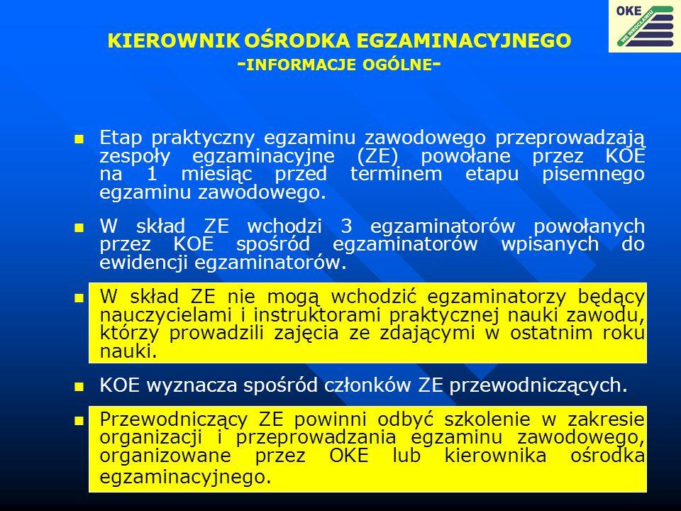 Etap praktyczny egzaminu zawodowego przeprowadzają zespoły egzaminacyjne (ZE) powołane przez KOE na 1 miesiąc przed terminem etapu pisemnego egzaminu
