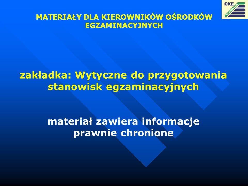 zakładka: Wytyczne do przygotowania stanowisk egzaminacyjnych materiał zawiera informacje prawnie chronione MATERIAŁY DLA KIEROWNIKÓW OŚRODKÓW EGZAMIN