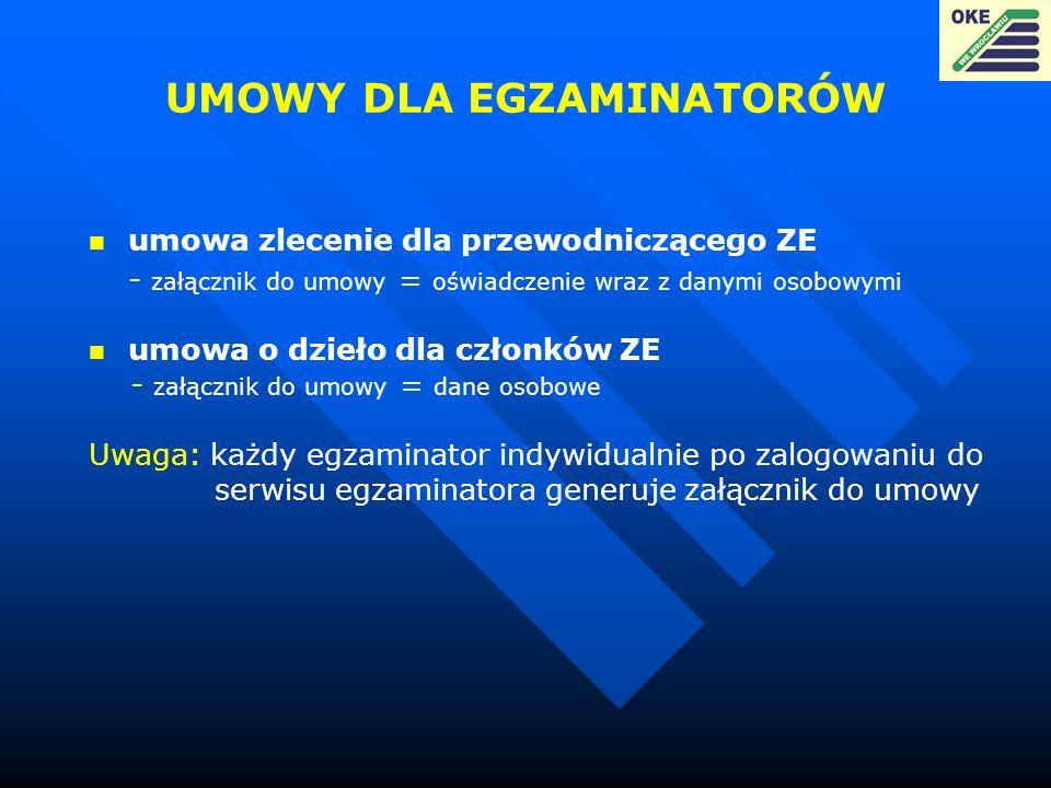 UMOWY DLA EGZAMINATORÓW umowa zlecenie dla przewodniczącego ZE - załącznik do umowy = oświadczenie wraz z danymi osobowymi umowa o dzieło dla członków