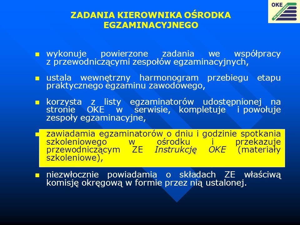 ZADANIA KIEROWNIKA OŚRODKA EGZAMINACYJNEGO wykonuje powierzone zadania we współpracy z przewodniczącymi zespołów egzaminacyjnych, ustala wewnętrzny ha