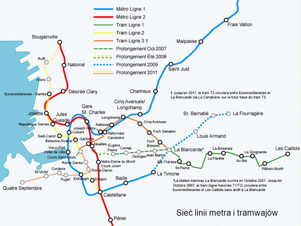 Sieć linii metra i tramwajów