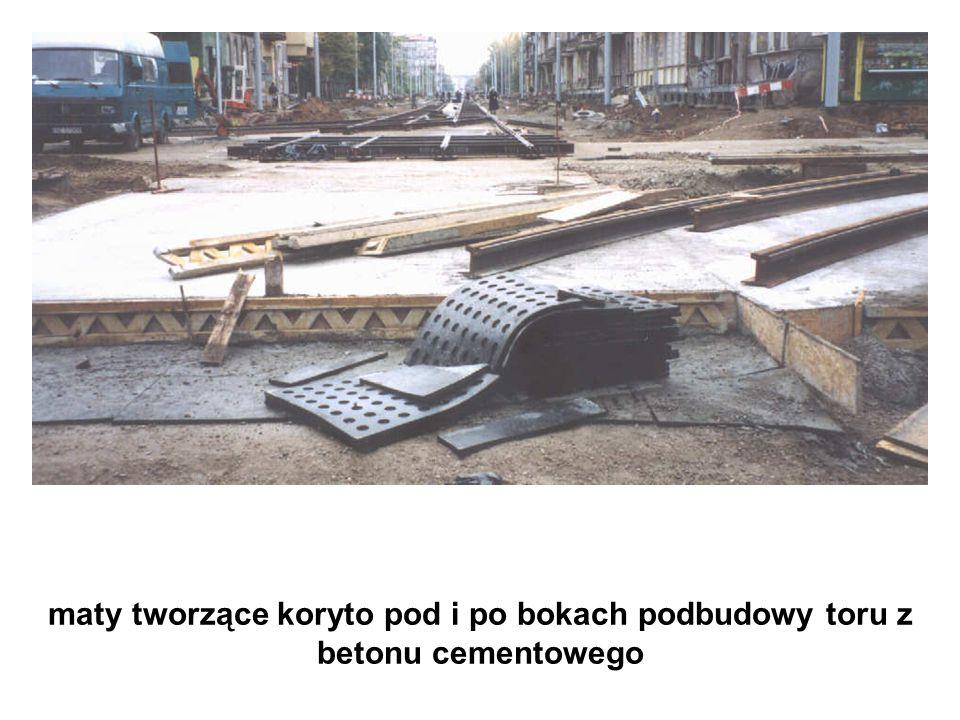 maty tworzące koryto pod i po bokach podbudowy toru z betonu cementowego