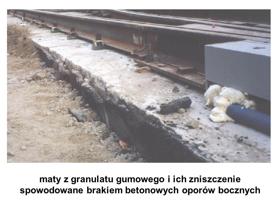 maty z granulatu gumowego i ich zniszczenie spowodowane brakiem betonowych oporów bocznych