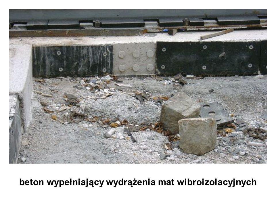 beton wypełniający wydrążenia mat wibroizolacyjnych
