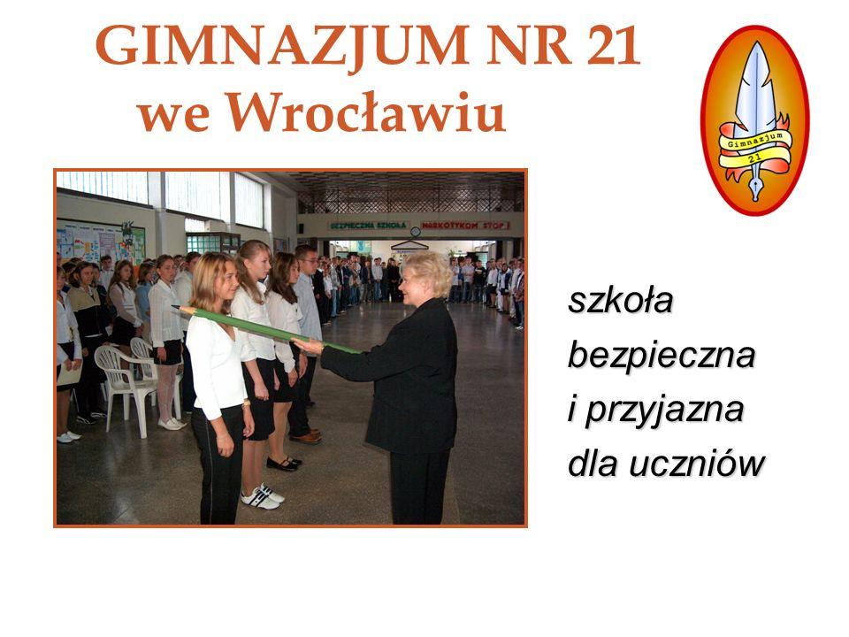 GIMNAZJUM NR 21 WE WROCŁAWIU autorzy prezentacji: Iwona Czubata, Izabela Piekarek pomagamy w integracji nowym uczniom - Tydzień Integracyjny, Przyjazna i bezpieczna szkoła, ponieważ: