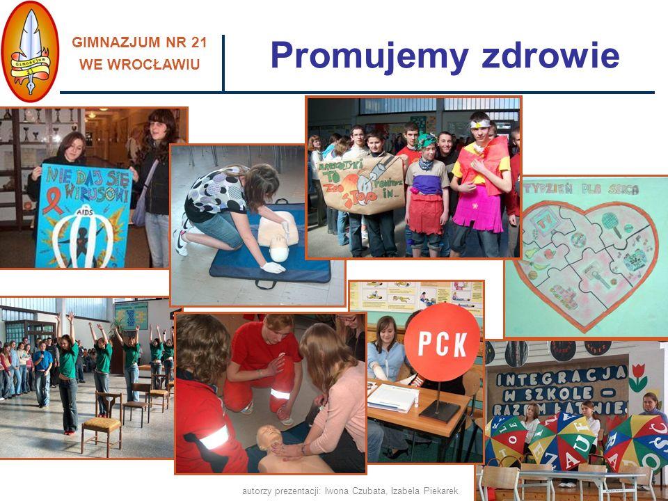 GIMNAZJUM NR 21 WE WROCŁAWIU autorzy prezentacji: Iwona Czubata, Izabela Piekarek pomagamy w integracji nowym uczniom - Tydzień Integracyjny, utrzymujemy stały kontakt z rodzicami uczniów, pracujemy z uczniami o obniżonych możliwościach intelektualnych w atmosferze poczucia bezpieczeństwa, wpieramy również uczniów nieśmiałych, dysponujemy nowoczesną bazą, dostosowaną do potrzeb uczniów oraz spójną z aktualnymi wyzwaniami edukacyjnymi, promujemy zdrowy styl życia, prowadzimy profilaktykę uzależnień, realizujemy programy i projekty edukacyjne, współpracujemy w tym zakresie z odpowiednimi placówkami i instytucjami, Przyjazna i bezpieczna szkoła, ponieważ: