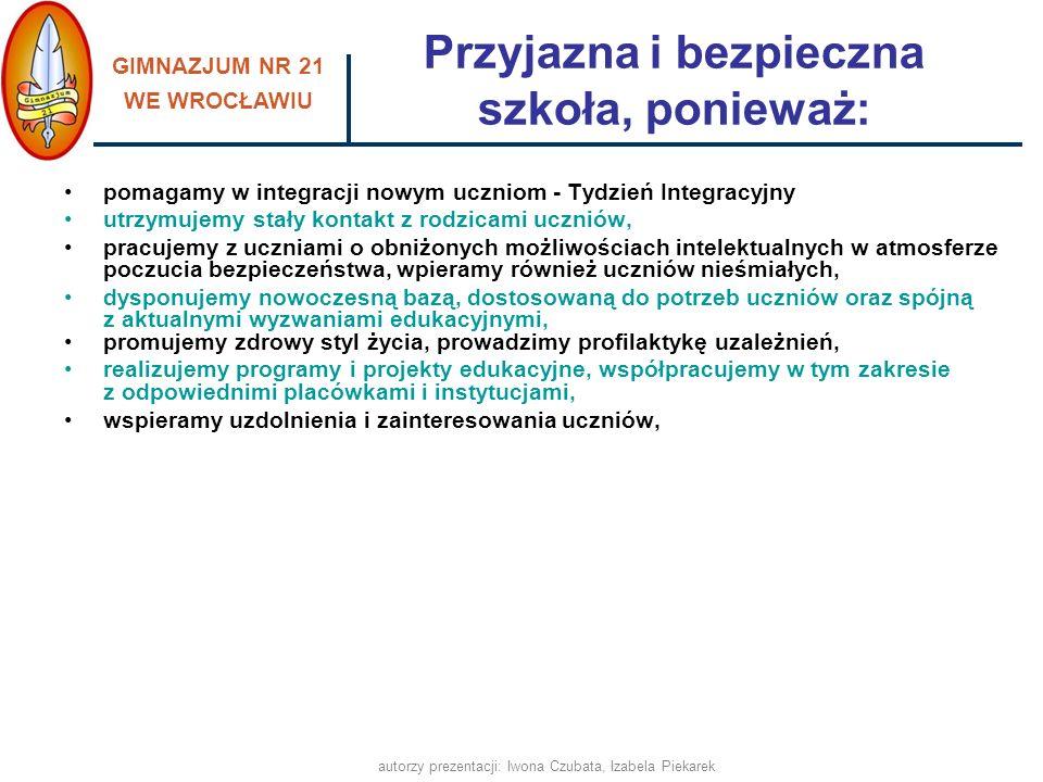 GIMNAZJUM NR 21 WE WROCŁAWIU autorzy prezentacji: Iwona Czubata, Izabela Piekarek Rozwijamy uzdolnienia i zainteresowania Przegląd Talentów Koła przedmiotoweIndywidualne programy nauki Szkolny Nobel