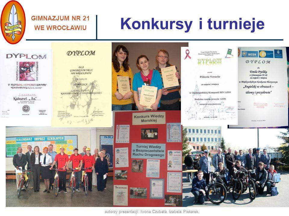 GIMNAZJUM NR 21 WE WROCŁAWIU autorzy prezentacji: Iwona Czubata, Izabela Piekarek Konkursy i turnieje