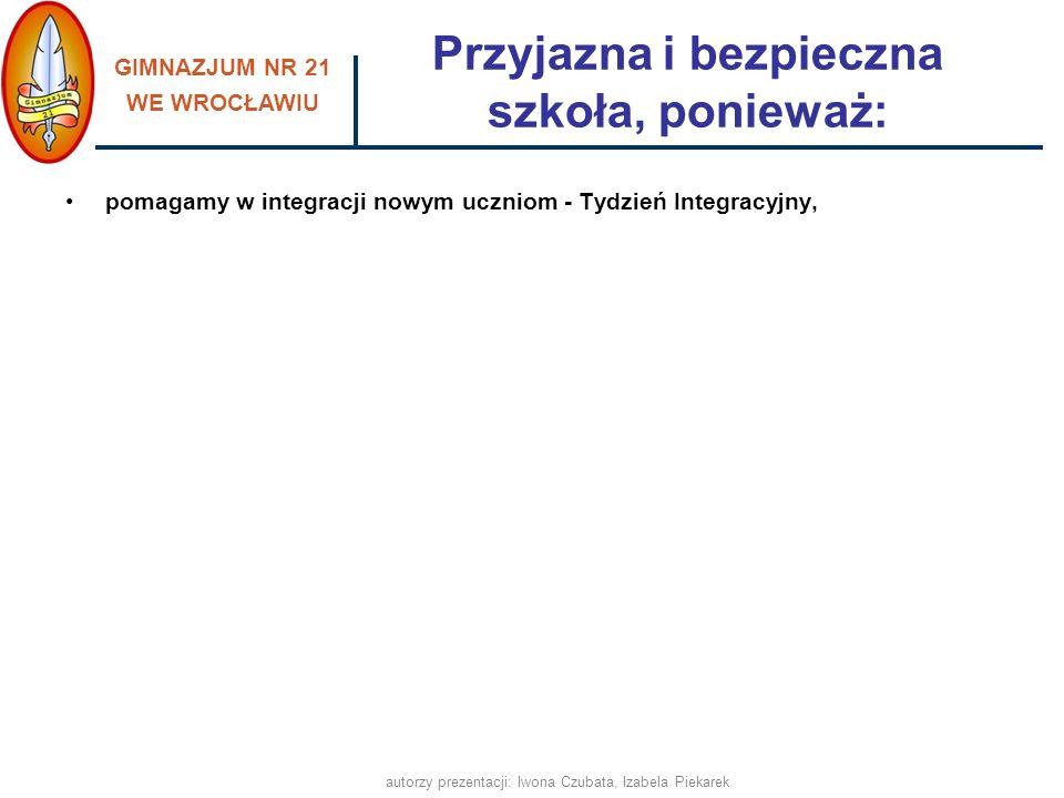 GIMNAZJUM NR 21 WE WROCŁAWIU autorzy prezentacji: Iwona Czubata, Izabela Piekarek pomagamy w integracji nowym uczniom - Tydzień Integracyjny, Przyjazn