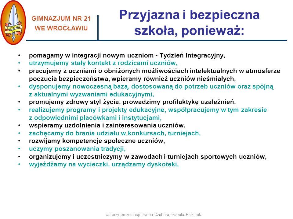GIMNAZJUM NR 21 WE WROCŁAWIU autorzy prezentacji: Iwona Czubata, Izabela Piekarek Wycieczki, dyskoteki