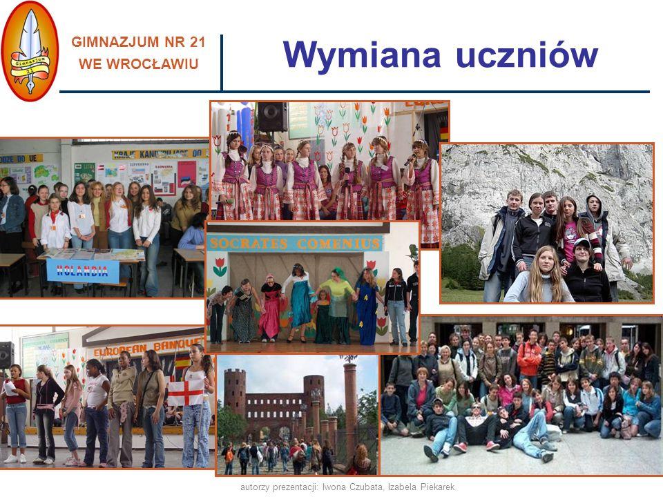 GIMNAZJUM NR 21 WE WROCŁAWIU autorzy prezentacji: Iwona Czubata, Izabela Piekarek Wymiana uczniów