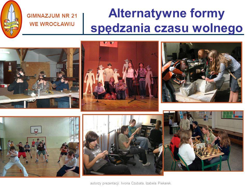 GIMNAZJUM NR 21 WE WROCŁAWIU autorzy prezentacji: Iwona Czubata, Izabela Piekarek Alternatywne formy spędzania czasu wolnego