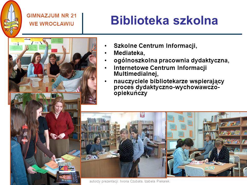 GIMNAZJUM NR 21 WE WROCŁAWIU autorzy prezentacji: Iwona Czubata, Izabela Piekarek Przyjazna i bezpieczna szkoła, ponieważ: pomagamy w integracji nowym uczniom - Tydzień Integracyjny, utrzymujemy stały kontakt z rodzicami uczniów, pracujemy z uczniami o obniżonych możliwościach intelektualnych w atmosferze poczucia bezpieczeństwa, wpieramy również uczniów nieśmiałych, dysponujemy nowoczesną bazą, dostosowaną do potrzeb uczniów oraz spójną z aktualnymi wyzwaniami edukacyjnymi, promujemy zdrowy styl życia, prowadzimy profilaktykę uzależnień, realizujemy programy i projekty edukacyjne, współpracujemy w tym zakresie z odpowiednimi placówkami i instytucjami, wspieramy uzdolnienia i zainteresowania uczniów, zachęcamy do brania udziału w konkursach, turniejach, rozwijamy kompetencje społeczne uczniów, uczymy poszanowania tradycji, organizujemy i uczestniczymy w zawodach i turniejach sportowych uczniów, wyjeżdżamy na wycieczki, urządzamy dyskoteki, organizujemy wymianę uczniów ze szkołami z Europy, promujemy alternatywne sposoby spędzania czasu wolnego, proponujemy atrakcyjną ofertę biblioteki szkolnej, zapewniamy opiekę medyczną i zaplecze socjalne dla uczniów,
