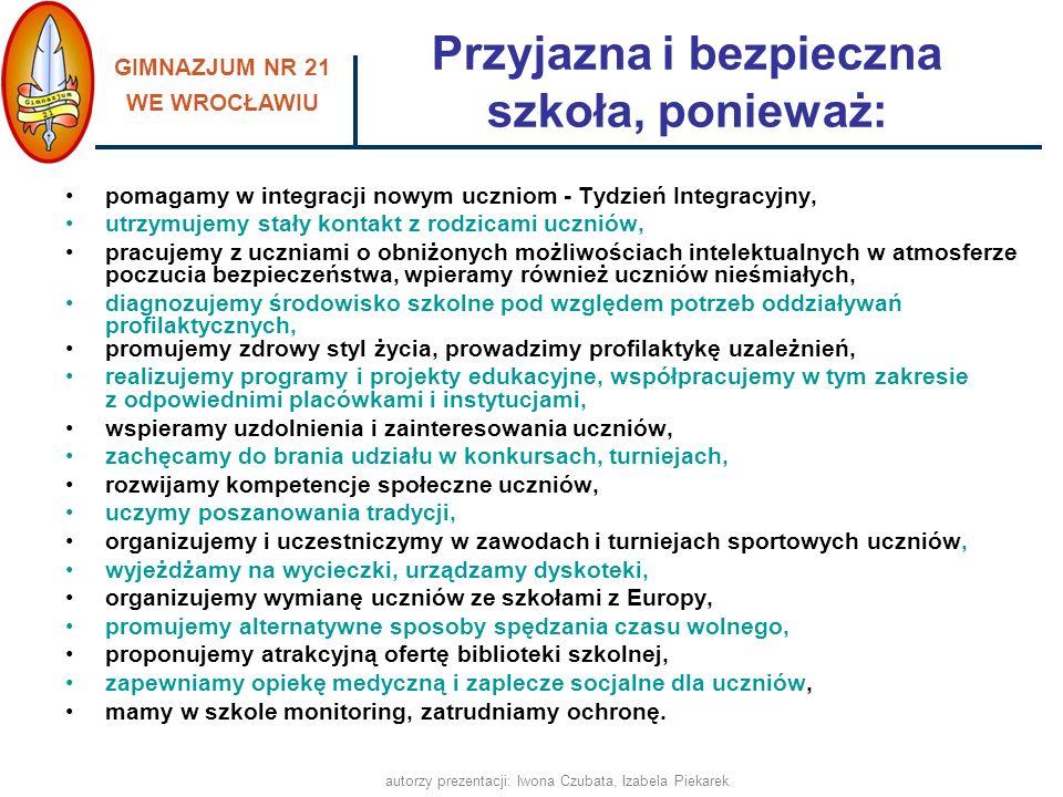 GIMNAZJUM NR 21 WE WROCŁAWIU autorzy prezentacji: Iwona Czubata, Izabela Piekarek pomagamy w integracji nowym uczniom - Tydzień Integracyjny, utrzymuj