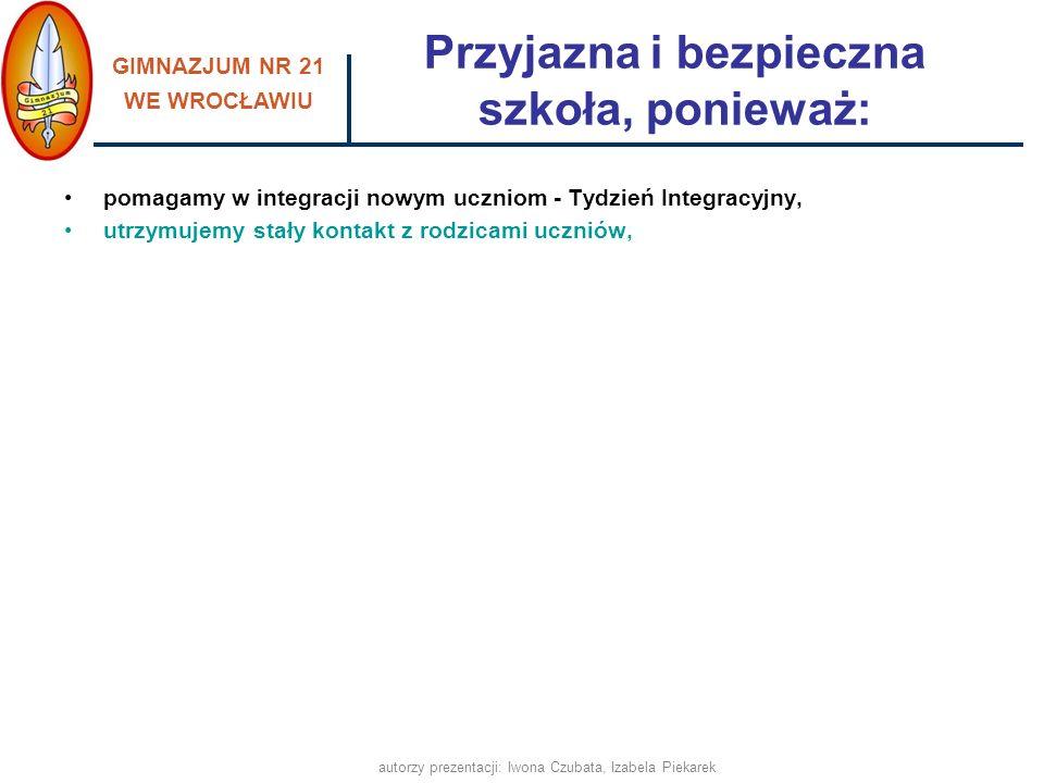 GIMNAZJUM NR 21 WE WROCŁAWIU autorzy prezentacji: Iwona Czubata, Izabela Piekarek Kontakt z rodzicami E-dziennik (system kontroli frekwencji i postępów w nauce) Konsultacje indywidualne nauczycieli