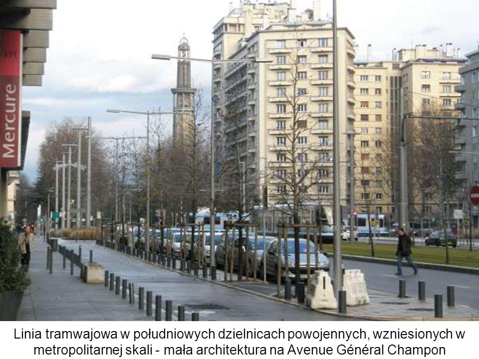 Linia tramwajowa w południowych dzielnicach powojennych, wzniesionych w metropolitarnej skali - mała architektura na Avenue Général Champon